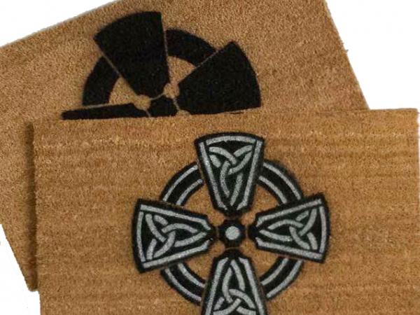 celtic cross irish welsh christian damn good doormat welcome rug outdoor