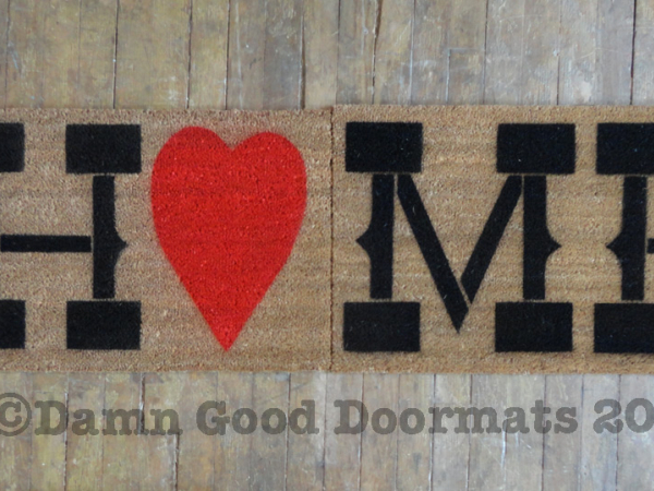 HUGE 60 inch wide Country home heart doormat from Damn Good Doormats