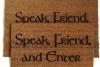 speak friend enter tolkien doormat