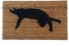 Black cat silhouette Halloween doormat