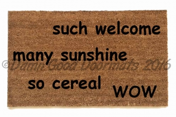 doge much welcome, many sunshine, so cereal,wow, meme, funny, doormat