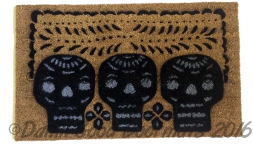 Halloween 3 skulls Mexican Papel Picado Day of the Dead doormat. Dia de las Muertos