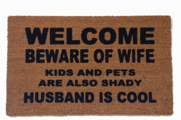 KIDS beware of wife shady husband cool funny novelty doormat