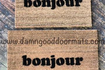 bonjour French good day doormat mustache