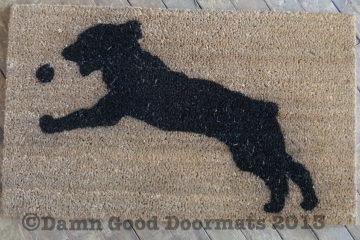Springer Spaniel catching ball doormat by Damn Good Doormats
