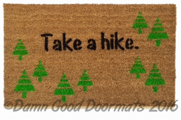 Take a hike doormat funny rude warning camping