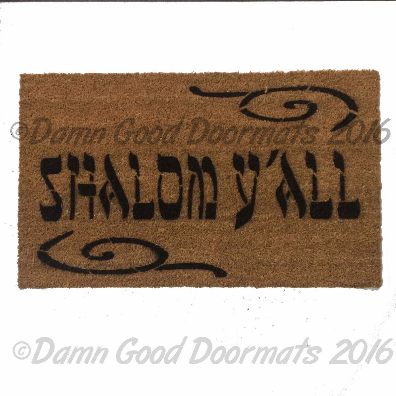Shalom Y All Jewish Novelty Welcome Doormat By Damn Good