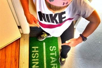 GREEN START FINISH runners doormat