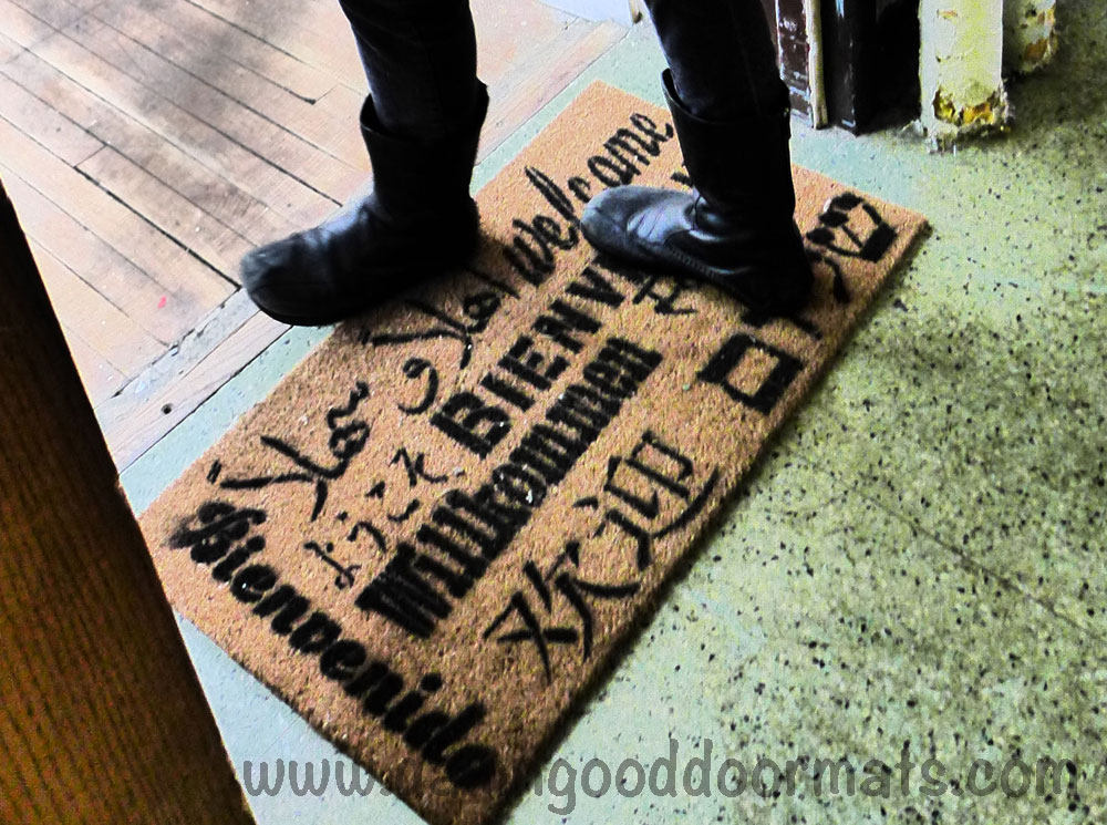 Welcome In All Languages Doormat English Spanish French